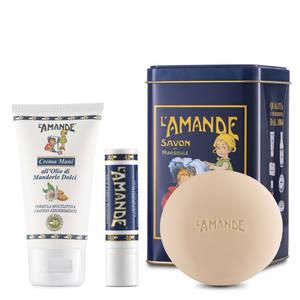 Boite Olio di Mandorla Crema Mani stick labbra Sapone L