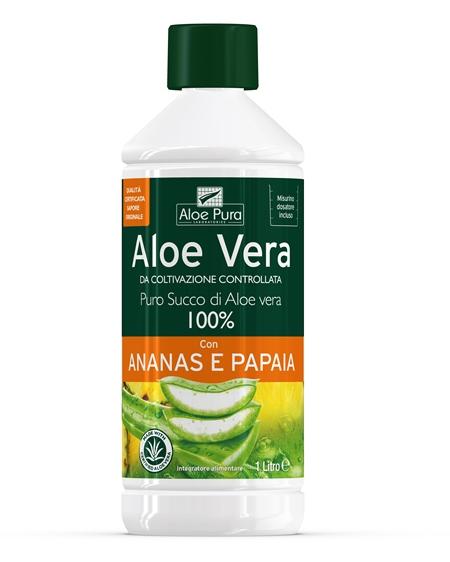Puro Succo di Aloe Vera 100% con Ananas e Papaya Optima Naturals